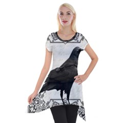 Vintage Halloween Raven Short Sleeve Side Drop Tunic