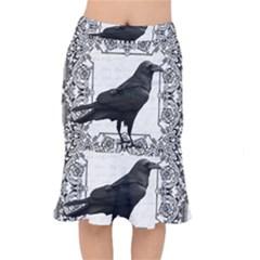 Vintage Halloween Raven Mermaid Skirt