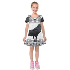 Vintage Halloween Raven Kids  Short Sleeve Velvet Dress