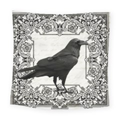 Vintage Halloween Raven Square Tapestry (large)