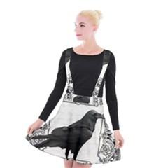 Vintage Halloween Raven Suspender Skater Skirt