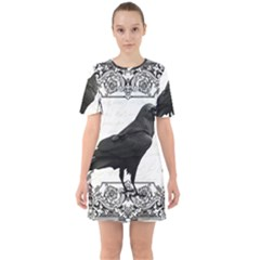 Vintage Halloween Raven Sixties Short Sleeve Mini Dress