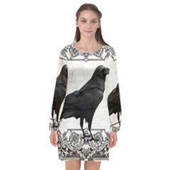 Vintage Halloween Raven Long Sleeve Chiffon Shift Dress