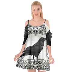 Vintage Halloween Raven Cutout Spaghetti Strap Chiffon Dress