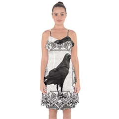 Vintage Halloween Raven Ruffle Detail Chiffon Dress