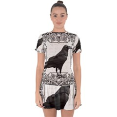 Vintage Halloween Raven Drop Hem Mini Chiffon Dress