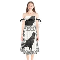 Vintage Halloween Raven Shoulder Tie Bardot Midi Dress