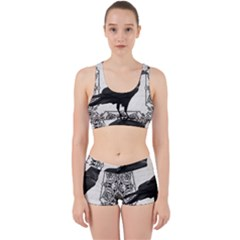 Vintage Halloween Raven Work It Out Sports Bra Set