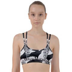 Vintage Halloween Raven Line Them Up Sports Bra