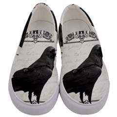 Vintage Halloween Raven Men s Canvas Slip Ons