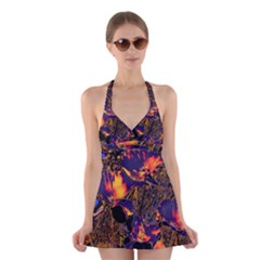 Amazing Glowing Flowers 2a Halter Swimsuit Dress