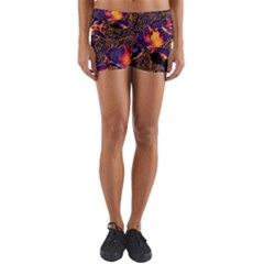Amazing Glowing Flowers 2a Yoga Shorts