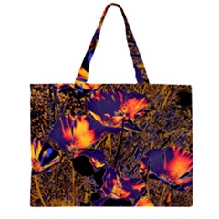Amazing Glowing Flowers 2a Zipper Large Tote Bag