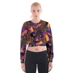 Amazing Glowing Flowers 2a Cropped Sweatshirt