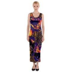 Amazing Glowing Flowers 2a Fitted Maxi Dress