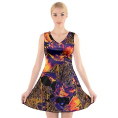 Amazing Glowing Flowers 2a V Neck Sleeveless Skater Dress