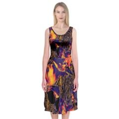 Amazing Glowing Flowers 2a Midi Sleeveless Dress
