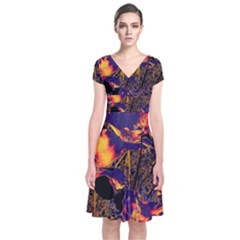 Amazing Glowing Flowers 2a Short Sleeve Front Wrap Dress