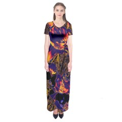 Amazing Glowing Flowers 2a Short Sleeve Maxi Dress