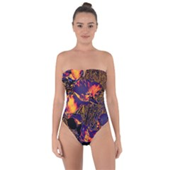 Amazing Glowing Flowers 2a Tie Back One Piece Swimsuit