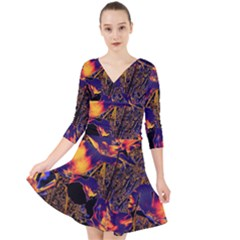 Amazing Glowing Flowers 2a Quarter Sleeve Front Wrap Dress
