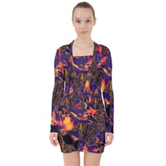 Amazing Glowing Flowers 2a V Neck Bodycon Long Sleeve Dress