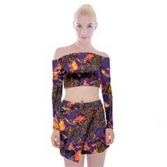 Amazing Glowing Flowers 2a Off Shoulder Top With Mini Skirt Set