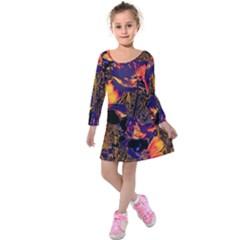 Amazing Glowing Flowers 2a Kids  Long Sleeve Velvet Dress