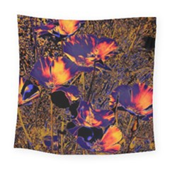 Amazing Glowing Flowers 2a Square Tapestry (large)