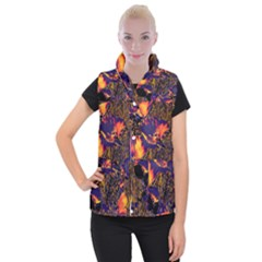 Amazing Glowing Flowers 2a Women s Button Up Puffer Vest