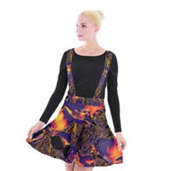 Amazing Glowing Flowers 2a Suspender Skater Skirt