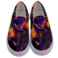 Amazing Glowing Flowers 2a Kids  Canvas Slip Ons