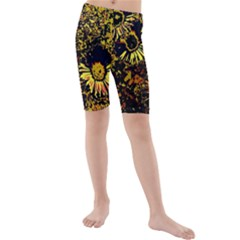 Amazing Neon Flowers B Kids  Mid Length Swim Shorts