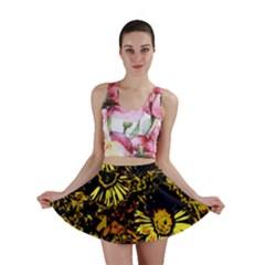Amazing Neon Flowers B Mini Skirt
