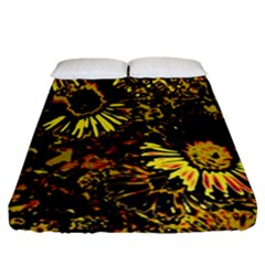 Amazing Neon Flowers B Fitted Sheet (queen Size)