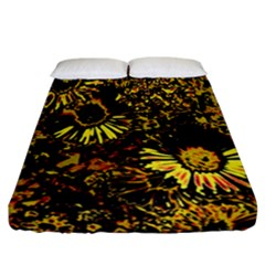 Amazing Neon Flowers B Fitted Sheet (california King Size)