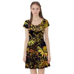 Amazing Neon Flowers B Short Sleeve Skater Dress