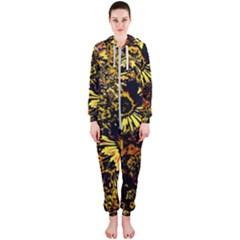 Amazing Neon Flowers B Hooded Jumpsuit (ladies)