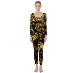 Amazing Neon Flowers B Long Sleeve Catsuit