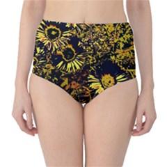 Amazing Neon Flowers B High Waist Bikini Bottoms