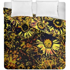 Amazing Neon Flowers B Duvet Cover Double Side (king Size)