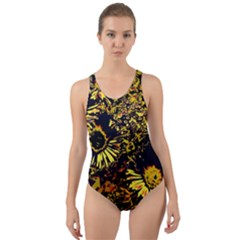 Amazing Neon Flowers B Cut Out Back One Piece Swimsuit