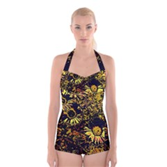 Amazing Neon Flowers B Boyleg Halter Swimsuit