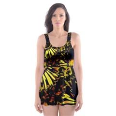 Amazing Neon Flowers B Skater Dress Swimsuit