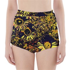Amazing Neon Flowers B High Waisted Bikini Bottoms