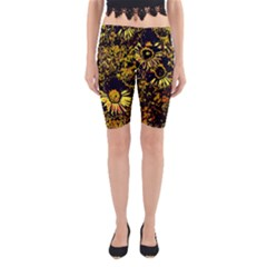 Amazing Neon Flowers B Yoga Cropped Leggings