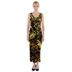 Amazing Neon Flowers B Fitted Maxi Dress