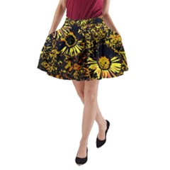 Amazing Neon Flowers B A Line Pocket Skirt