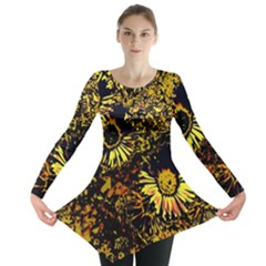 Amazing Neon Flowers B Long Sleeve Tunic