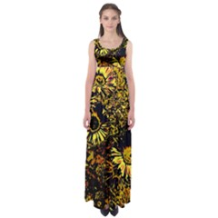 Amazing Neon Flowers B Empire Waist Maxi Dress